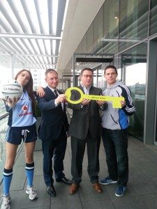 Launching the new partnership between Gibson Hotel and Dublin GAA senior footballers are Daniella Myles, Dublin GAA manager Jim Gavin, Gibson Hotel manager, Adrian McLaughlin and  goalkeeper Stephen Cluxton