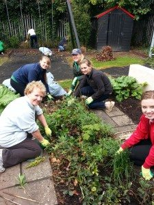 At work in transforming the garden at Rathmines Womens Refuge