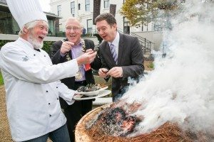 Dublin Lord Mayor Christy Burke (centre) with chef Sean Coyne and West Expo CEO Breandan O hEaghra at the Mansion House launch.