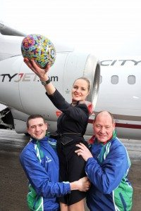 No Repro Free CityJet, the Irish European regional airline, has today been named Official Airline of the country's largest and most successful rugby sevens event. Pictured the announcement at Cork Airport were Olan Hodnett and Paul Brugger of Kinsale 7's with CityJet crew member Sandra Liutkiene. CityJet is to partner the Kinsale 7s which takes place over the May Bank Holiday Weekend (30th April & 1st May) and is expected to attract over 10,000 visitors to the Co Cork seaside town. CityJet already enjoys a significant presence in Munster due to its introduction of scheduled flights between Cork and London City Airport last October. The airline has 18 flights weekly between the two cities. Pic Daragh Mc Sweeney/Provision