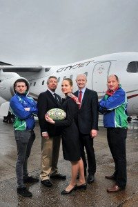 No Repro Free CityJet, the Irish European regional airline, has today been named Official Airline of the countryÕs largest and most successful rugby sevens event. Pictured the announcement at Cork Airport were Olan Hodnett, Kinsale RFC, Peter Elliot, President of Kinsale RFC, CityJet crew member Sandra Liutkiene, CityJet CCO Cathal O'Connell and Paul Brugger of Kinsale RFC. CityJet is to partner the Kinsale 7s which takes place over the May Bank Holiday Weekend (30th April & 1st May) and is expected to attract over 10,000 visitors to the Co Cork seaside town. CityJet already enjoys a significant presence in Munster due to its introduction of scheduled flights between Cork and London City Airport last October. The airline has 18 flights weekly between the two cities. Pic Daragh Mc Sweeney/Provision
