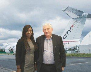 Astou N'Diaye, CityJet Marketing, with Brendie Brien, Provincial Council GAA in Britain.