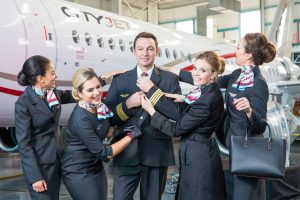 No Repro fee 18-10-16 Picture shows from left CityJet cabin crew Layle Bahjat;Patricia Ramos;Captain Frederique Brule; Lauren Fisk and Roisin Lally; as CityJet today revealed its new look for its staff and cabin crew with the rollout of its exclusive new uniform, created by top Irish designer Aideen Bodkin, who worked closely with CityJet crews throughout the whole process.Pic:Naoise Culhane-no fee